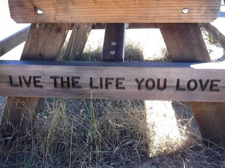 """Live The Life You Love"" is the message at a picnic bench with a view of the Bay along Perimeter Road at Angel Island State Park"