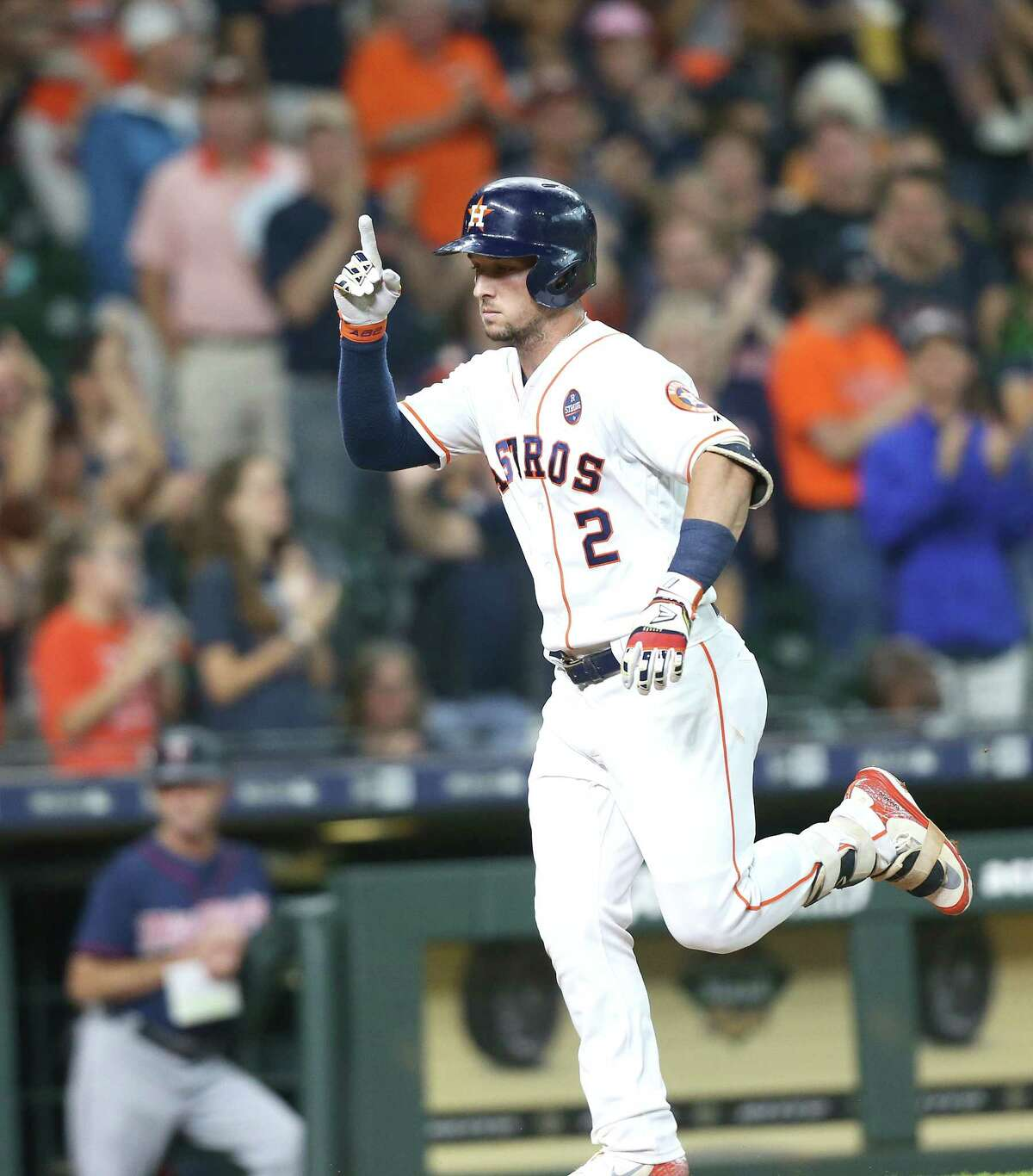 Houston Astros third baseman Alex Bregman (2) reacts after hitting a solo home run in the bottom of the first inning against the Minnesota Twins at Minute Maid Park on Monday, Sept. 3, 2018 in Houston.