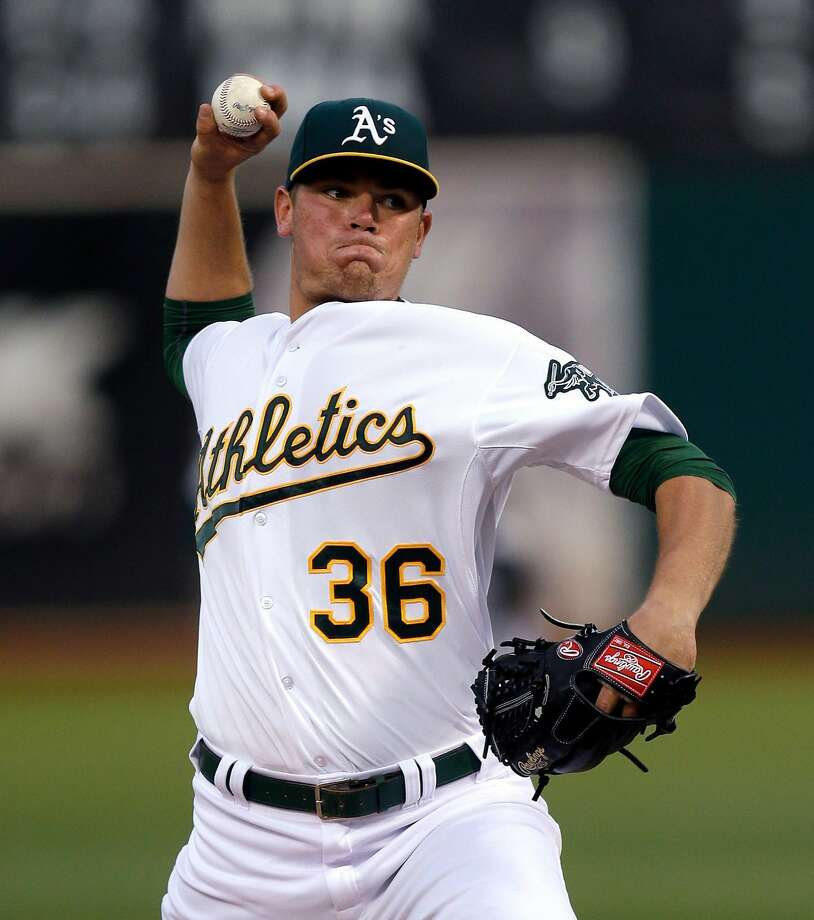 Oakland Athletics pitcher Aaron Brooks works against the Seattle Mariners during the first inning of a baseball game Friday, Sept. 4, 2015, in Oakland, Calif. (AP Photo/Ben Margot) Photo: Ben Margot / Associated Press