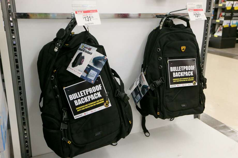 Bulletproof backpacks for sale at OfficeMax, 17700 US Hwy 281 N, on Thursday, Aug. 9, 2018.  NEISD has mandated that all student backpacks be clear at every high school and middle school in the district beginning in the fall of the 2018-2019 school year.  OfficeMax carries those as well as these bulletproof ones. Photo: Marvin Pfeiffer / San Antonio Express-News / Express-News 2018