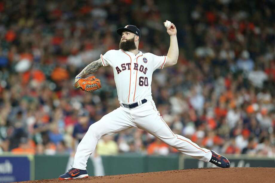 Astros starting pitcher Dallas Keuchel (60) pitches in the top of the fifth inning against the Minnesota Twins on Monday at Minute Maid Park. Photo: Elizabeth Conley, Staff Photographer / © 2018 Houston Chronicle