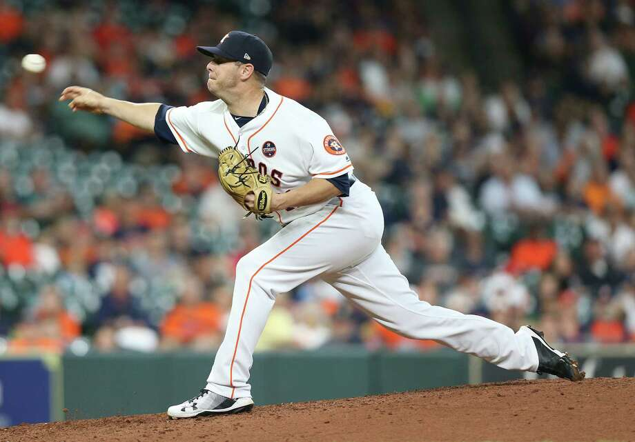 PHOTOS: Astros vs. Tigers  Houston Astros relief pitcher Brad Peacock (41) pitches in the ninth inning against the Minnesota Twins at Minute Maid Park on Monday, Sept. 3, 2018 in Houston. Houston Astros won the game 4-1.  >>>See photos from the Astros' win over the Tigers on Monday, Sept. 10, 2018 ...  Photo: Elizabeth Conley, Staff Photographer / © 2018 Houston Chronicle