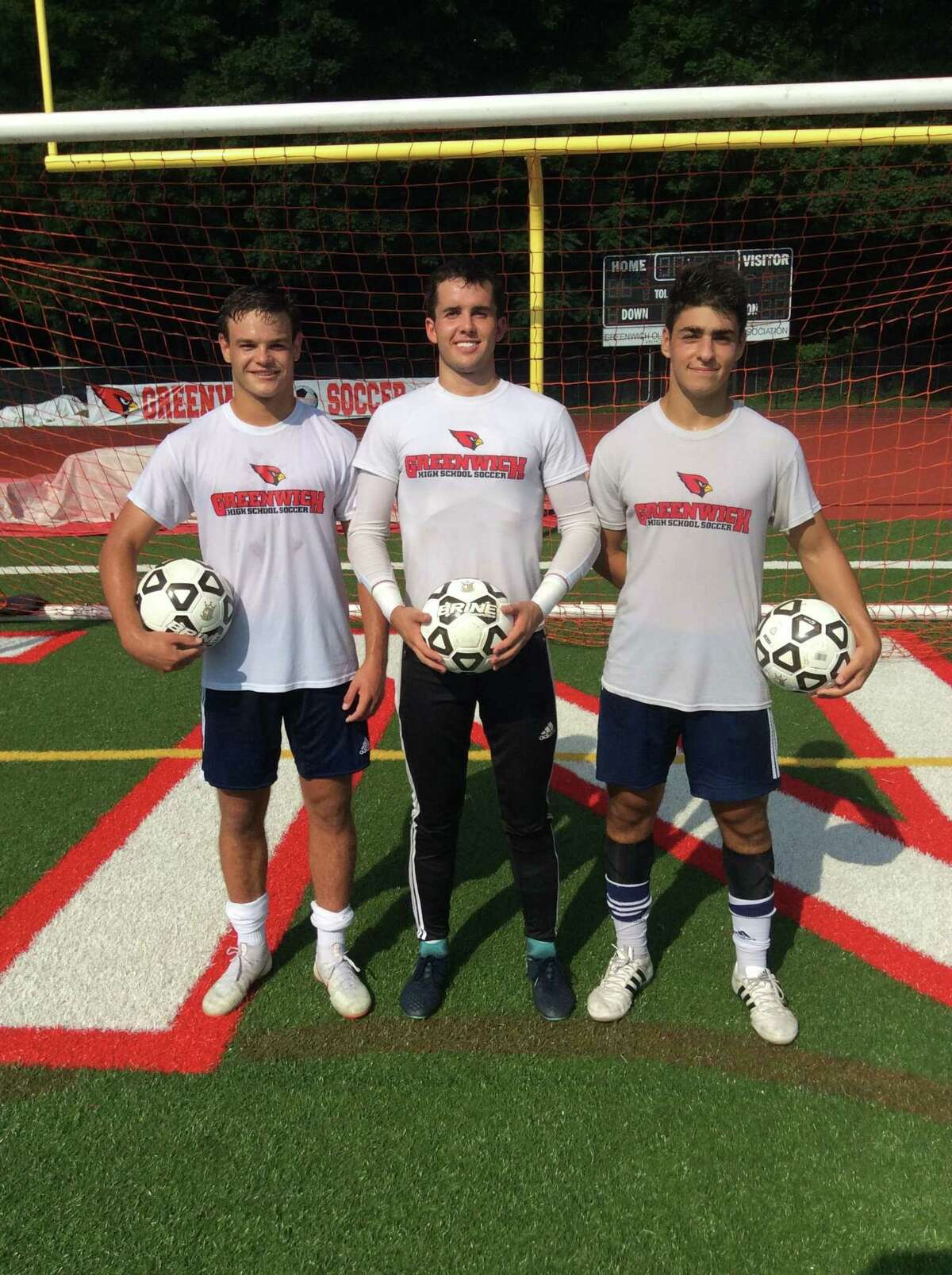 From left to right, Francisco Liguori, Jimmy Johnson and Ben Rifkin are senior captains of the Greenwich High School boys soccer team, which won the FCIAC championship in 2017.