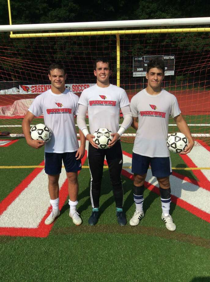 From left to right, Francisco Liguori, Jimmy Johnson and Ben Rifkin are senior captains of the Greenwich High School boys soccer team, which won the FCIAC championship in 2017. Photo: David Fierro / Hearst Connecticut Media / Greenwich Time Contributed