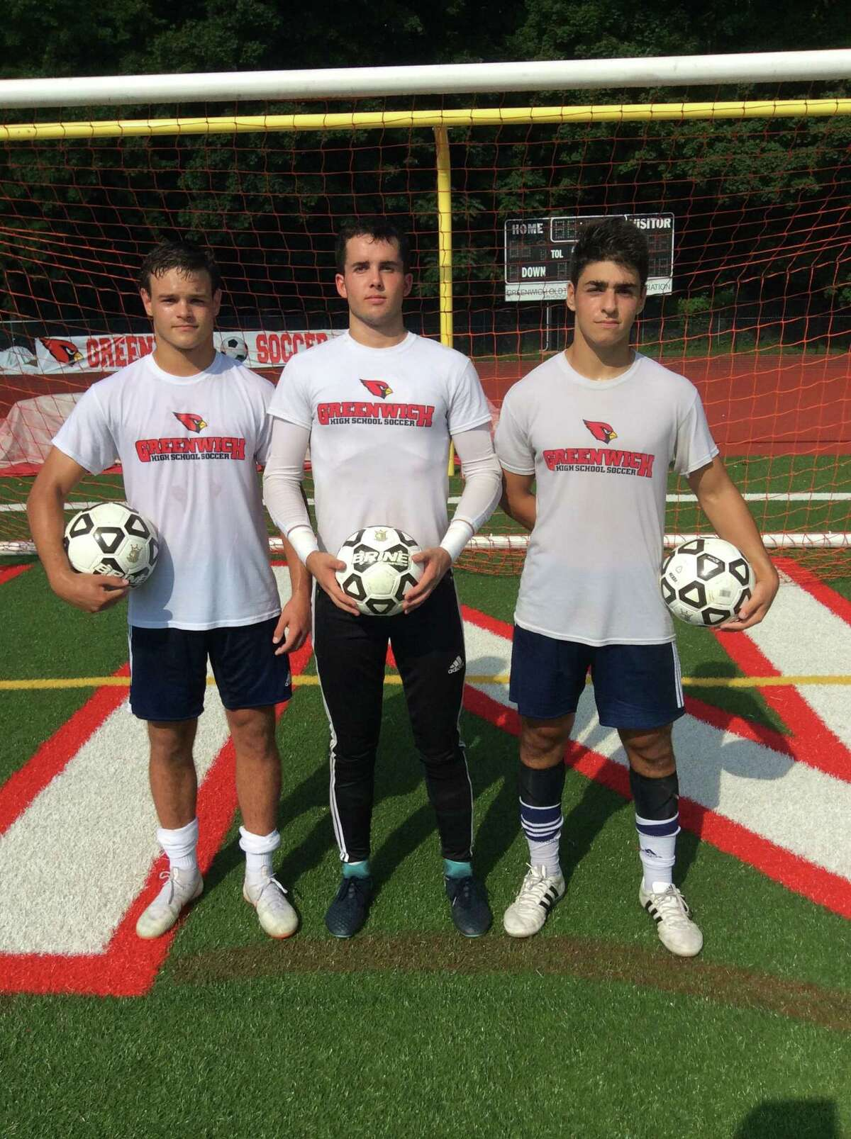 From left to right, Francisco Liguori, Jimmy Johnson and Ben Rifkin are senior captains of the Greenwich High School boys soccer team, which won the FCIAC championship in 2017. September 3, 2018