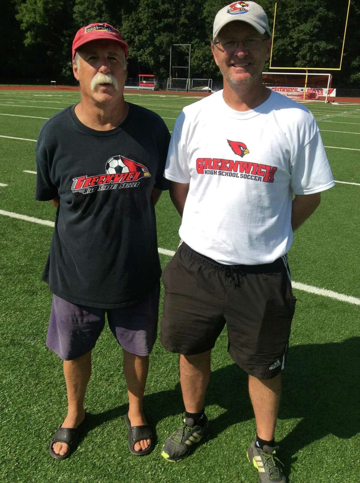 The Greenwich High School boys soccer team is coached by Ray Marschall (assistant coach), left, and Kurt Putnam. September 3, 2018