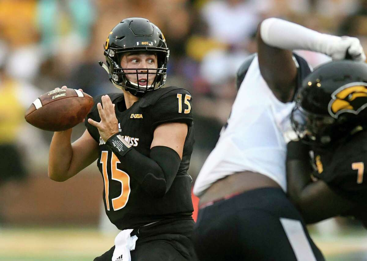 Southern Mississippi quarterback Jack Abraham looks for a receiver during an NCAA college football game against Jackson State, Saturday, Sept. 1, 2018, in Hattiesburg, Miss. (Susan Broadbridge/Hattiesburg American via AP)