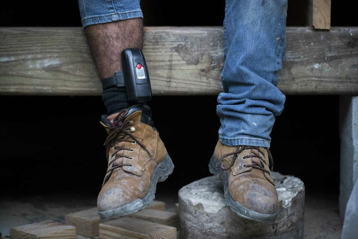 Electronic devices, like the ankle monitor seen in this file photo, are mandated by a 2006 amendment to the Bail Reform Act, which requires accused sex offenders and child pornography users to be tracked by the courts during pretrial release. ( Marie D. De Jesus / Houston Chronicle )