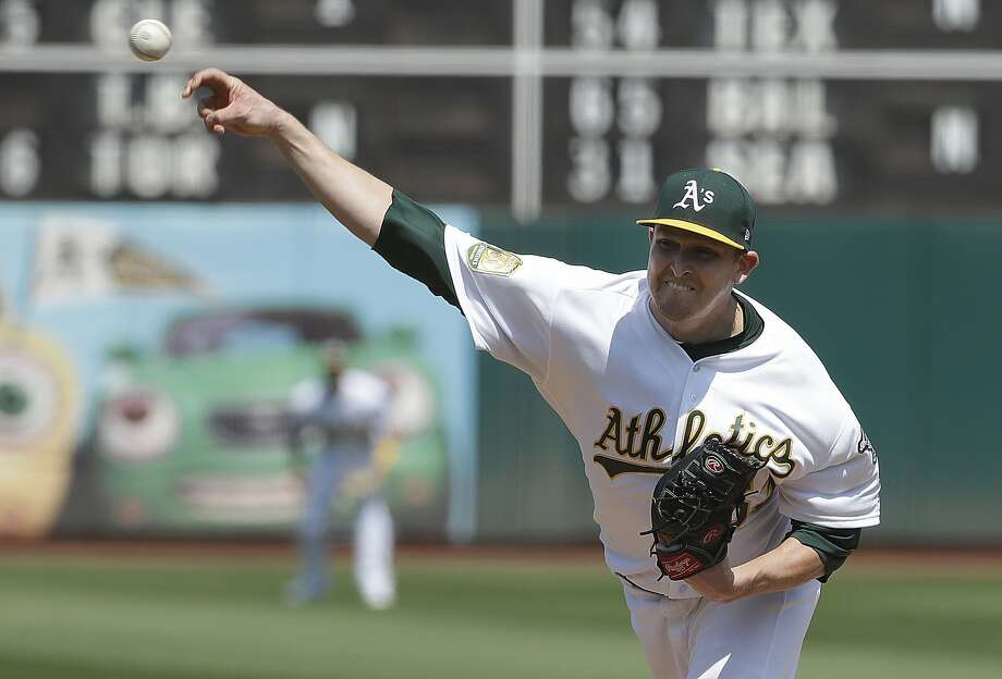 Oakland Athletics pitcher Trevor Cahill throws against the New York Yankees during the first inning of a baseball game in Oakland, Calif., Monday, Sept. 3, 2018. (AP Photo/Jeff Chiu) Photo: Jeff Chiu / Associated Press