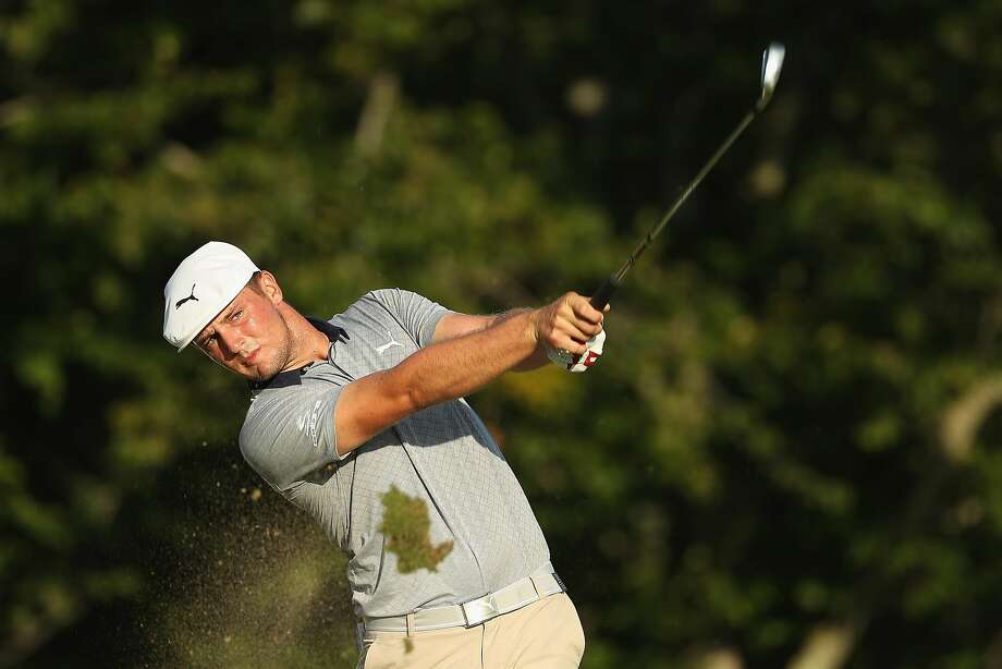 Bryson DeChambeau of the United States plays his shot from the 17th tee during the final round of the Dell Technologies Championship at TPC Boston on September 3, 2018 in Norton, Massachusetts.  Photo: Patrick Smith, Getty Images