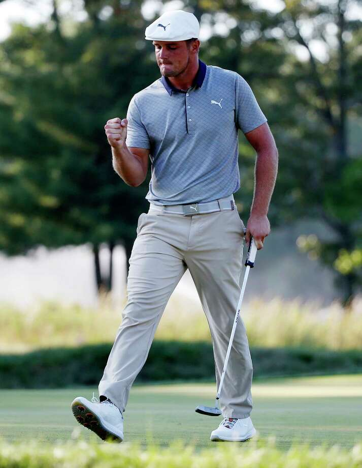 Bryson DeChambeau reacts after his birdie on the 15th hole during the final round of the Dell Technologies Championship golf tournament at TPC Boston in Norton, Mass., Monday, Sept. 3, 2018. (AP Photo/Michael Dwyer) Photo: Michael Dwyer / Copyright 2018 The Associated Press. All rights reserved