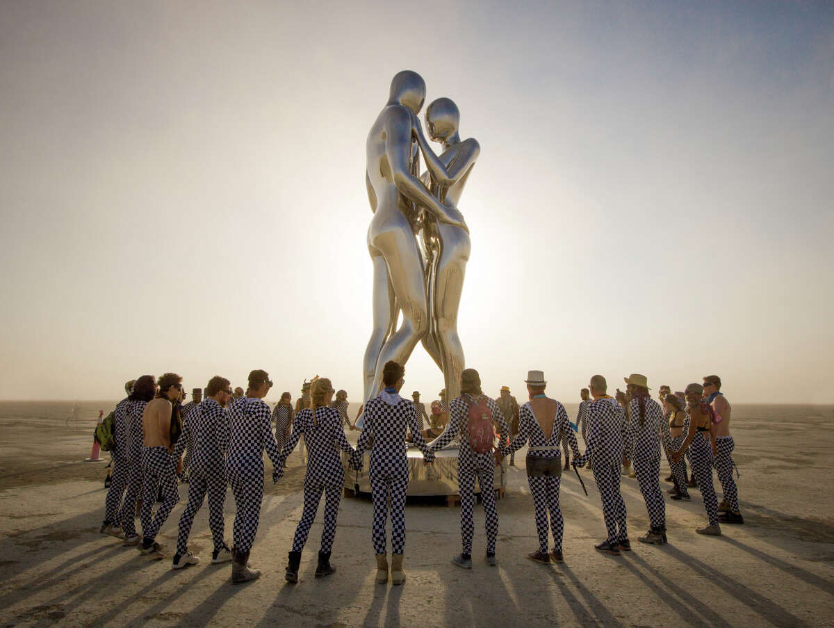 'In every lifetime I will find you' by Michael Benisty, Love and Unity was one of the art installations at Burning Man 2018. The annual event's art theme this year was I, Robot.