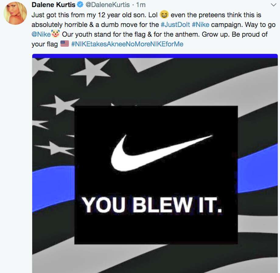 Twitter reacted to Nike's Labor Day announcement that it had chosen Colin Kaepernick for an upcoming campaign with snarky hashtags such as #JustBurnIt. Photo: Twitter Screenshot