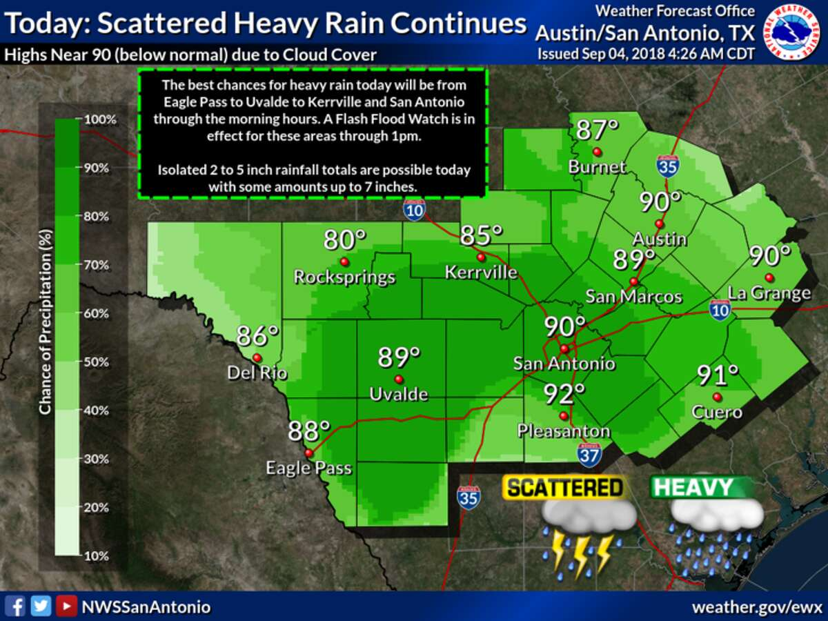 A flash flood watch has been extended in the San Antonio area to 1 p.m. Tuesday, Sept. 4, 2018, after 4 to 9 inches of rain fell in the area.