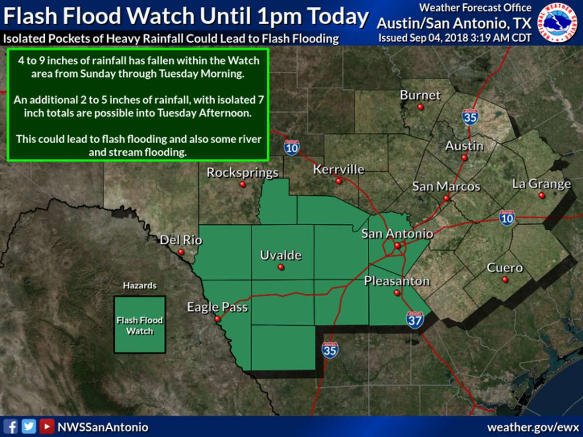 """Up to 7 inches of rain could fall Tuesday in isolated areas around San Antonio as """"slow-moving"""" thunderstorms pass through South Central Texas, the National Weather Service said."""