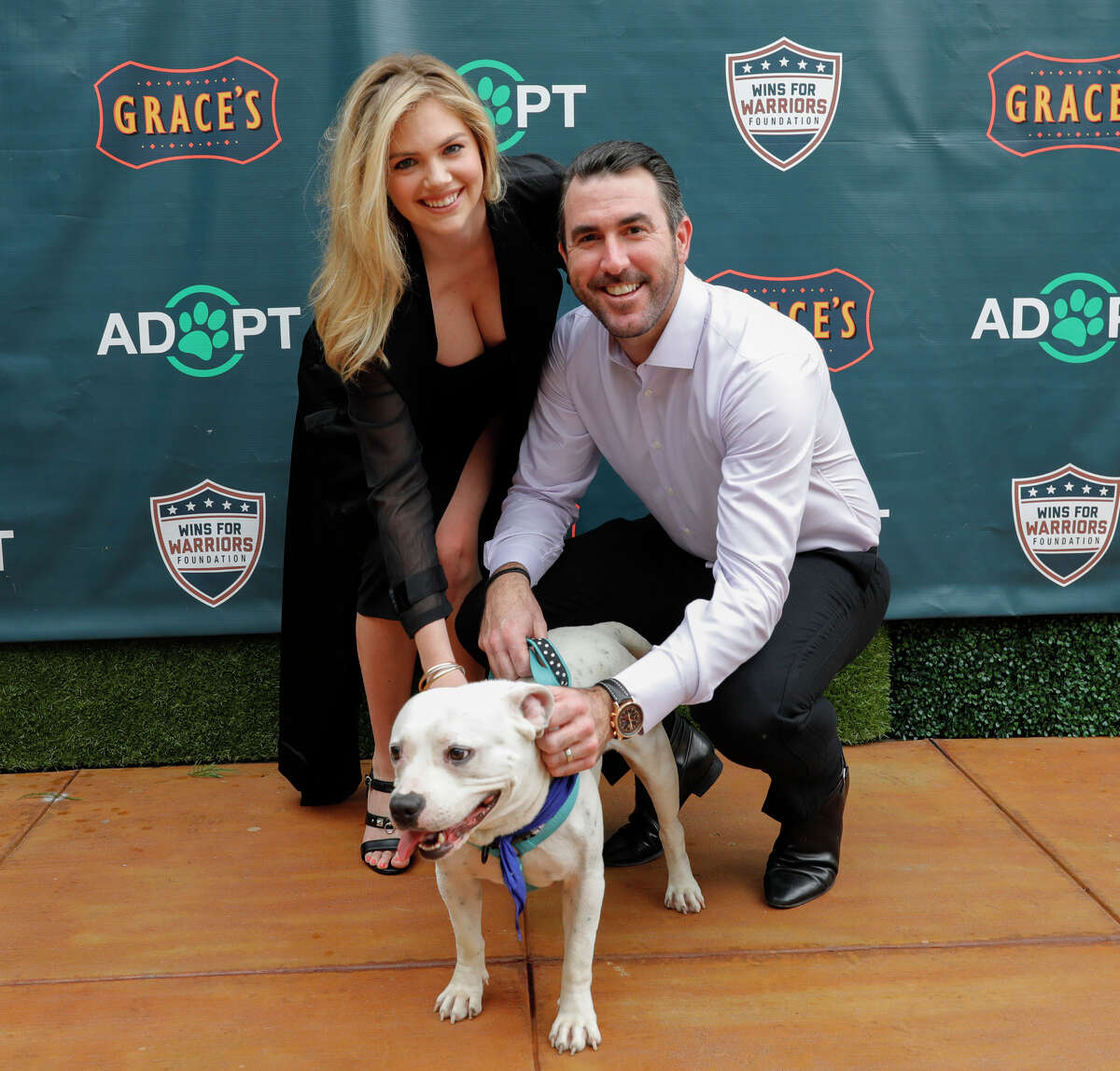 Supermodel Kate Upton and Houston Astros pitcher Justin Verlander host reception for Grand Slam Adoption Event and Wins For Warriors Foundation to raise funds for adoptable dogs to become service animals for military veterans at Grace's On Kirby on September 3, 2018 in Houston, Texas. (Photo by Bob Levey/Getty Images for Wins for Warriors Foundation)
