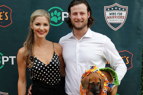 Houston Astros pitcher Gerrit Cole and wife Amy Crawford Cole attend Kate Upton and Justin Verlander's reception for Grand Slam Adoption Event and Wins For Warriors Foundation to raise funds for adoptable dogs to become service animals for military veterans at Grace's On Kirby on September 3, 2018 in Houston, Texas. (Photo by Bob Levey/Getty Images for Wins for Warriors Foundation)