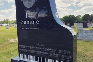 The headstone for jazz legend Joe Sample.