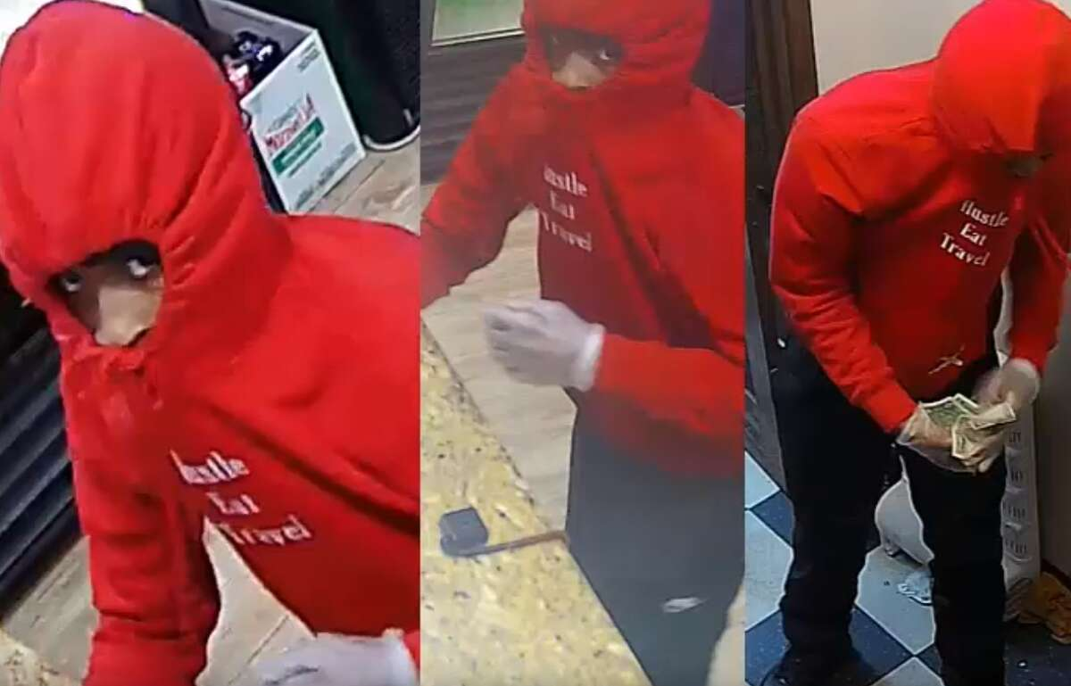 Houston Three suspects were caught on video July 14 robbing the Villa Roma Pizza in the 2100 block of Holly Hall.