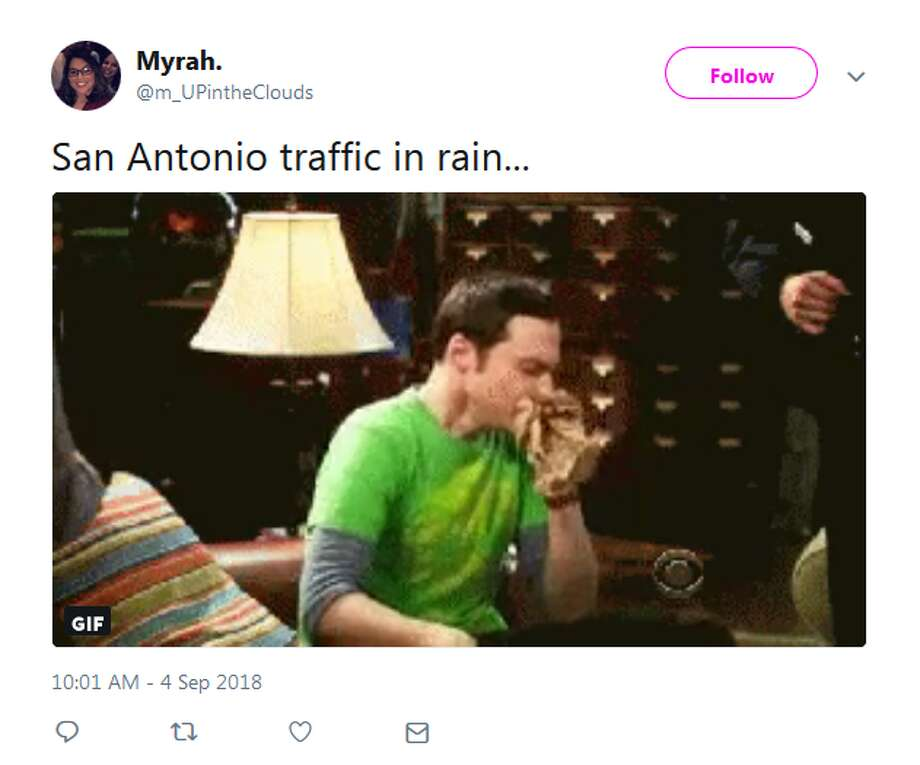 @m_UPintheClouds: San Antonio traffic in rain... Photo: Twitter Screengrabs