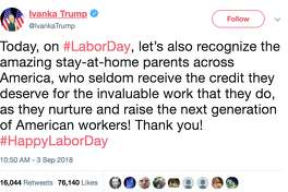 """President Donald Trump's daughter and adviser Ivanka Trump sparked controversy on the Labor Day holiday after sending out a tweet recognizing """"the amazing stay-at-home parents across America."""""""