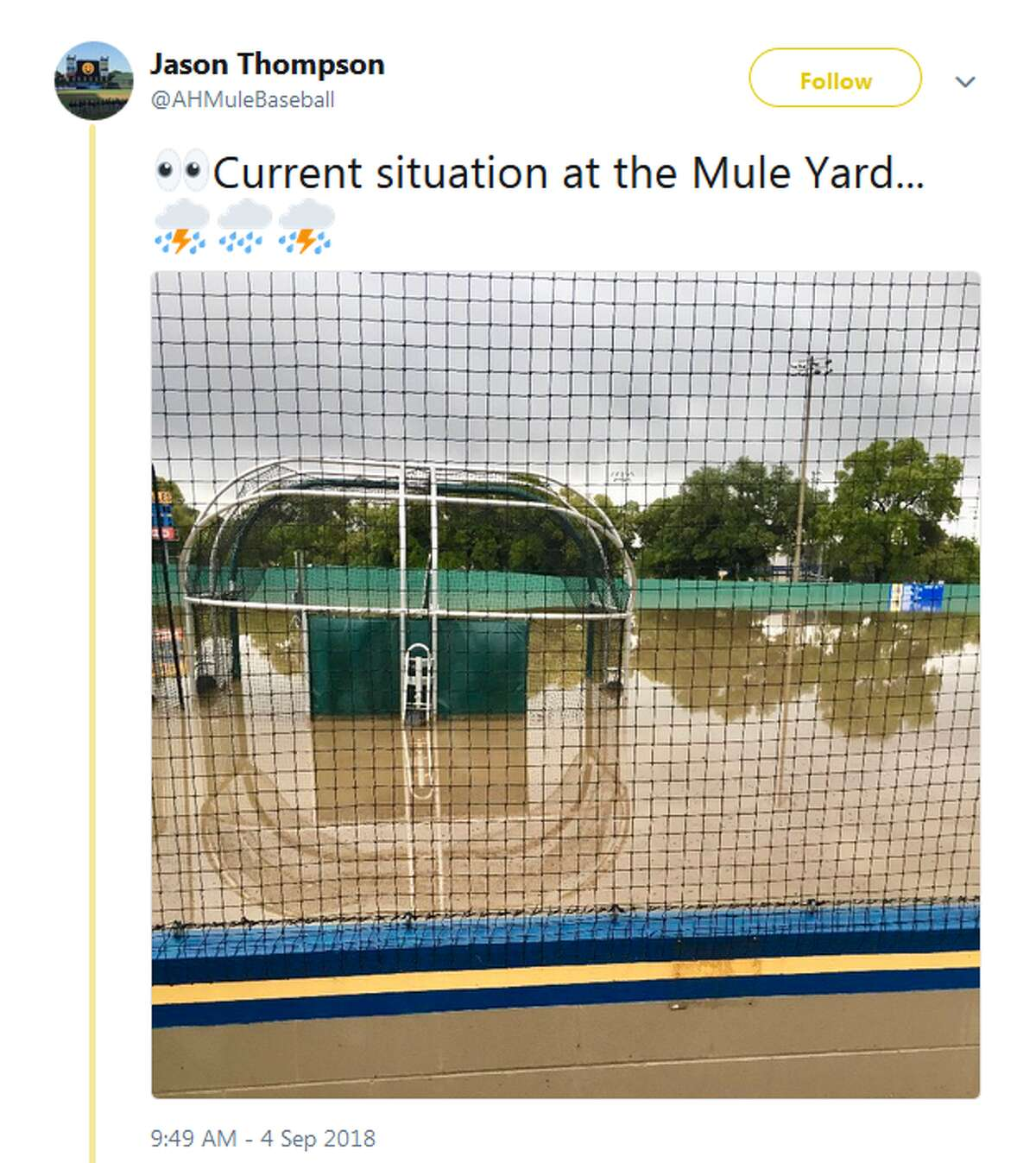 @AHMuleBaseball: Current situation at the Mule Yard...