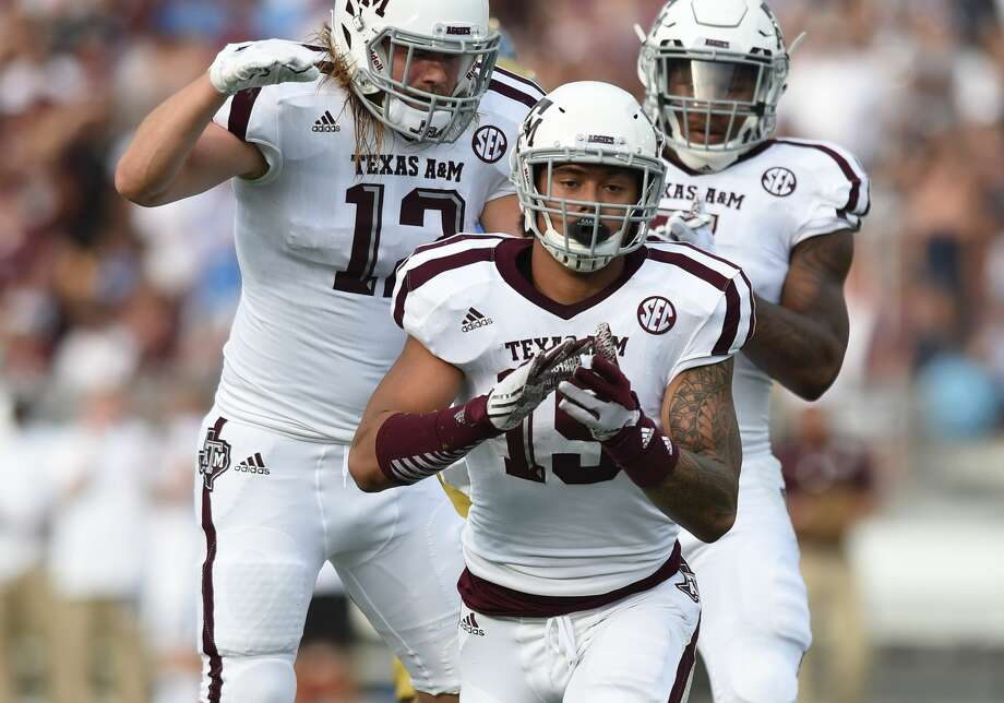 PHOTOS: Aggies' season opener  PASADENA, CA - SEPTEMBER 03: Texas A&M (19) Anthony Hines III (LB) celebrates after a tackle during a college football game between the Texas A&M Aggies and the UCLA Bruins on September 03, 2017 at the Rose Bowl in Pasadena, CA. Texas A&M's already-thin linebackers corps has taken a big hit early in the season with coach Jimbo Fisher announcing on Wednesday's weekly SEC teleconference that Hines is out of the year after reinjuring himself against Clemson last Saturday night. (Photo by Chris Williams/Icon Sportswire via Getty Images) >>>See photos from the Aggies' season-opening rout of Northwestern State on Thursday, Aug. 30, 2018 ... Photo: Icon Sportswire/Icon Sportswire Via Getty Images