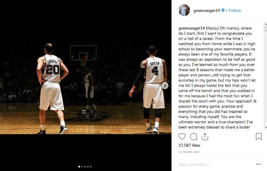 Danny Green, who was traded to the Toronto Raptors along with Kawhi Leonard in the July blockbuster deal, penned a lengthy Instagram tribute to Ginobili Monday night, a week after the Argentine baller announced his retirement.  Click ahead to view other praises that current and former Spurs, as well as rivals, had for Manu Ginobili following his announcement. Photo: Instagram Screengrab