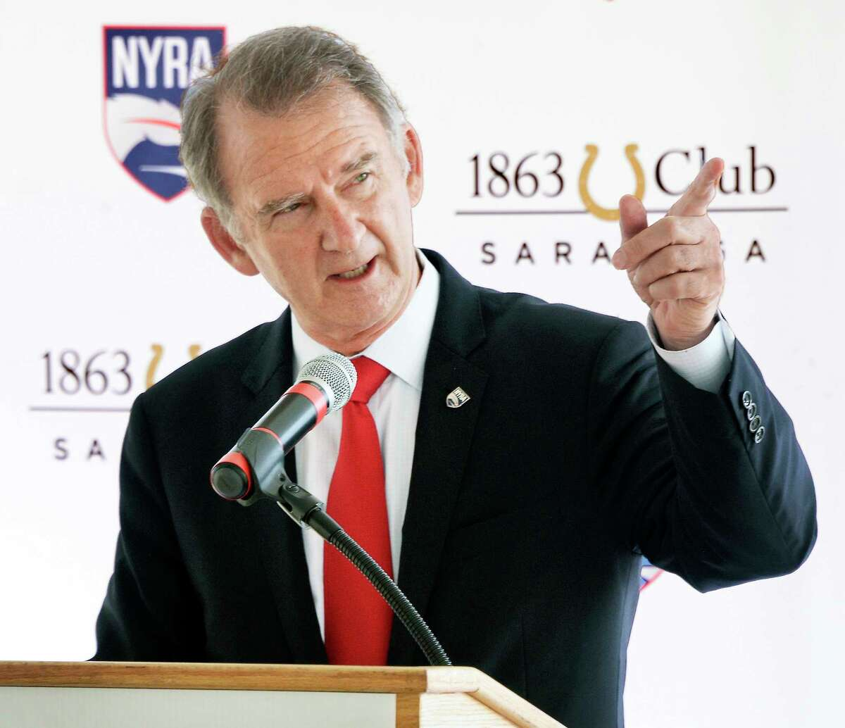 NYRA CEO & President Chris Kay announces plans for the new 1863 Club at Saratoga Race Course Tuesday Sept. 4, 2018 in Saratoga Springs, NY. (John Carl D'Annibale/Times Union)