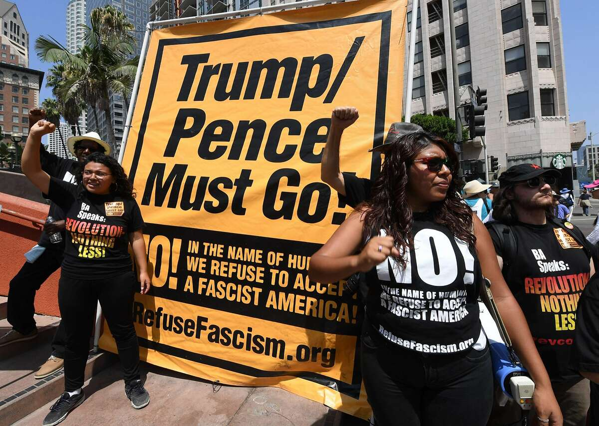 Demonstrators march through the city streets during the 'Unite For Justice' rally in protest of judge Brett Kavanaugh's confirmation to the US Supreme Court, in Los Angeles, California on August 26, 2018. (Photo by Mark RALSTON / AFP)MARK RALSTON/AFP/Getty Images