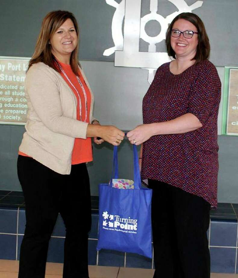 Laker kindergarten teacher, Heather Koroleski, recently received a $100 Positive Behavior Interventions and Supports grant from Thumb Area Psychological Services. In her application, Koroleski wrote about the Good Behavior Game that students participate in, and the activity encourages positive classroom behavior. Koroleski said she plans to use the grant dollars for math supplies for her students. Thumb Area Psychological Services plans to award one PBIS grant a month. Koroleski (right) is pictured with Deb Beers of Thumb Area Psychological Services. (Submitted Photo)