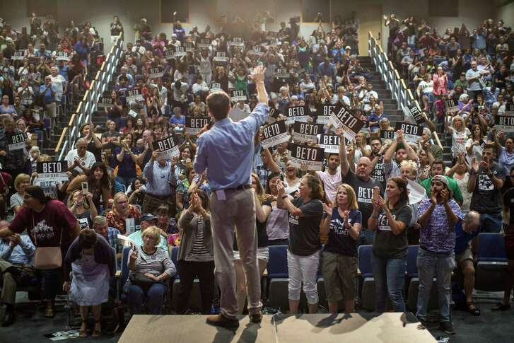 Rep. Beto O'Rourke, the Texas Democrat running against Sen. Ted Cruz, finishes a speech to cheers at a campaign event in Katy, Texas, Aug. 9, 2018. O'Rourke, who has visited each of the state's 254 counties, has been attempting the Texas equivalent of walking on water — winning statewide as a liberal Democrat. (Tamir Kalifa/The New York Times)