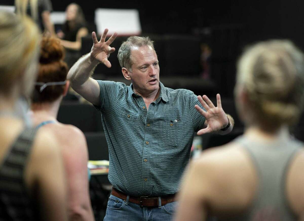 New York-based theater artist Joe Goscinski works with actors during a rehearsal of