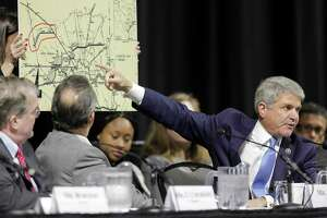 """U.S. Rep. Michael McCaul (R-TX), Chairman of the House Committee on Homeland Security, points to a 1940 plan map during a hearing, """"Houston Strong: Hurricane Harvey Lessons Learned and the Path Forward at Berry Hall on Monday, April 9, 2018, in Cypress. ( Elizabeth Conley / Houston Chronicle )"""
