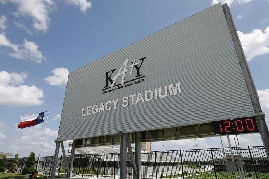 The back of the scoreboard at Katy ISD Legacy Stadium, 5070 Franz Rd., is shown Thursday, Aug. 17, 2017, in Katy. ( Melissa Phillip / Houston Chronicle ) Photo: Melissa Phillip, Staff / Houston Chronicle / © 2017 Houston Chronicle