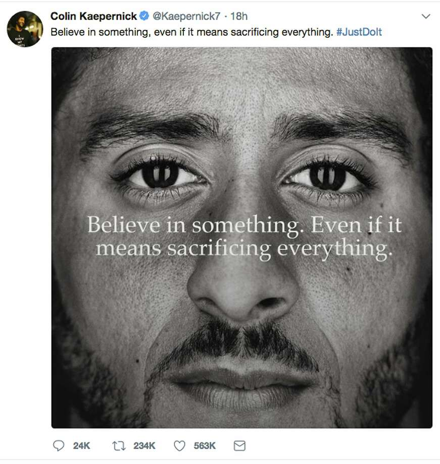 "This image taken from the Twitter account of the former National Football League player Colin Kaepernick shows a Nike advertisement featuring him that was posted Monday, Sept. 3, 2018. Kaepernick already had a deal with Nike that was set to expire, but it was renegotiated into a multi-year deal to make him one of the faces of Nike's 30th anniversary ""Just Do It"" campaign, according to a person familiar with the contract. (Twitter via AP) Photo: Associated Press"
