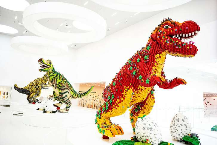 Lego dinosaurs at the Lego House in Billund, Denmark, April 25, 2018. Lego wants to eliminate its dependence on petroleum-based plastics, and build its toys entirely from plant-based or recycled materials by 2030. (Carsten Snejbjerg/The New York Times)