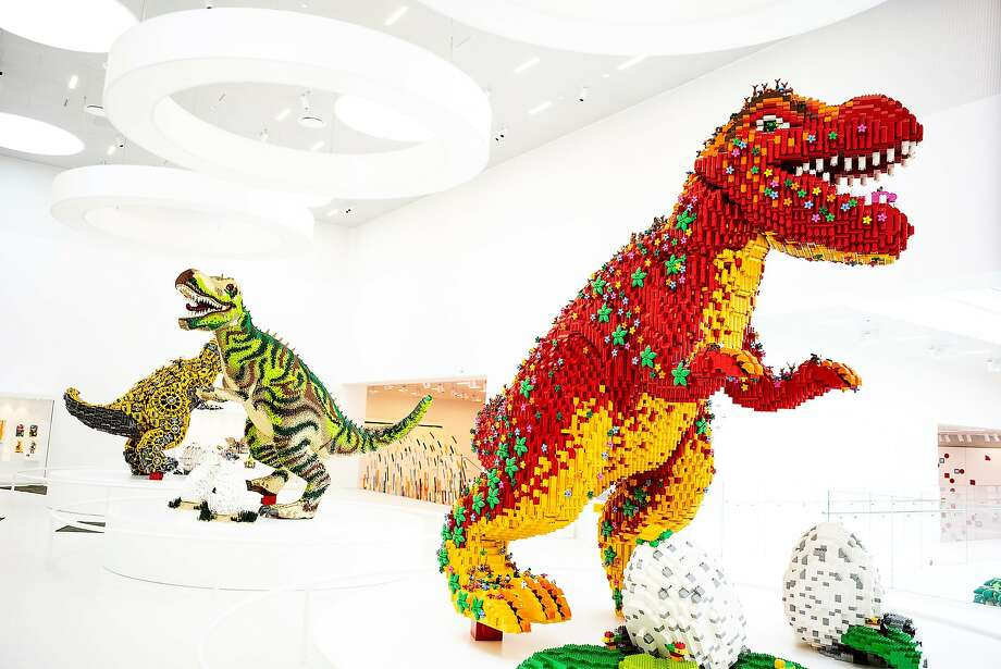Dinosaurs crafted from plastic Lego bricks are on display at the company's headquarters in in Billund, Denmark. It is testing different substances in an effort to find plant-based or recycled materials that can replace the plastic. Photo: Carsten Snjebjerg / New York Times