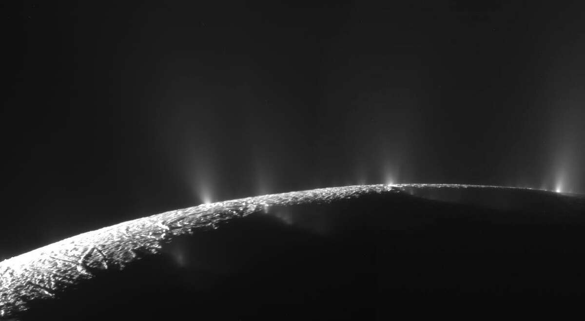 Enceladus12: Enormous jets of ice erupt from the pole of Enceladus, one of Saturnâà ôs moons. (NASA)