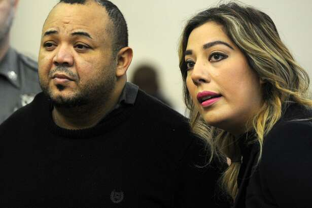 Oscar Hernandez, left, with the aid of a translator, faces Judge William Holden in Bridgeport Superior Court in April 2017. Hernandez is charged with murder, attempted murder, first-degree assault and risk of injury to a minor. Jury selection in the case is scheduled to begin tomorrow.