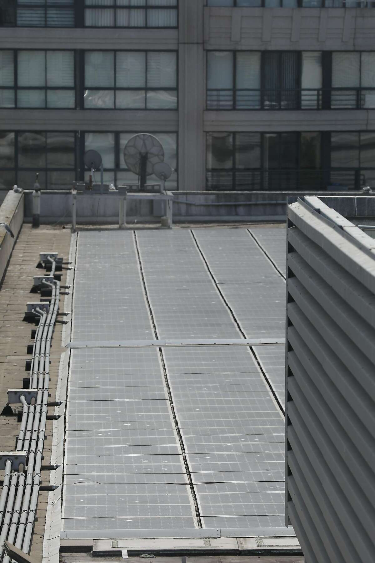 An existing solar array is seen on the roof of the Moscone Esplanade Ballroom on Tuesday, September 4, 2018 in San Francisco, Calif.