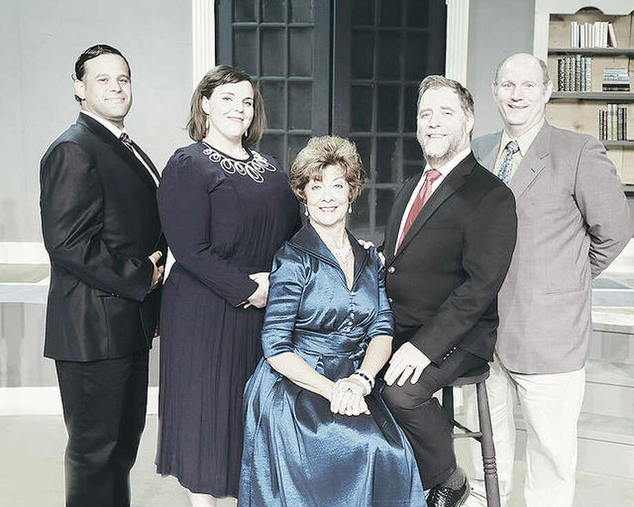 """Anthony Tuzzo, from left, Christy Luster, Carol Hodson, Howard Bell and Brant McCance pose for a """"family photo"""" for the upcoming Alton Little Theater production of Neil Simon's """"God's Favorite."""" Photo: Pete Basola