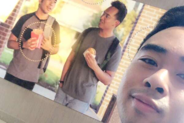 Jevh Maravilla decided to add some racial diversity to a McDonald's in Pearland by adding a photo of him and a friend to the wall as a prank.