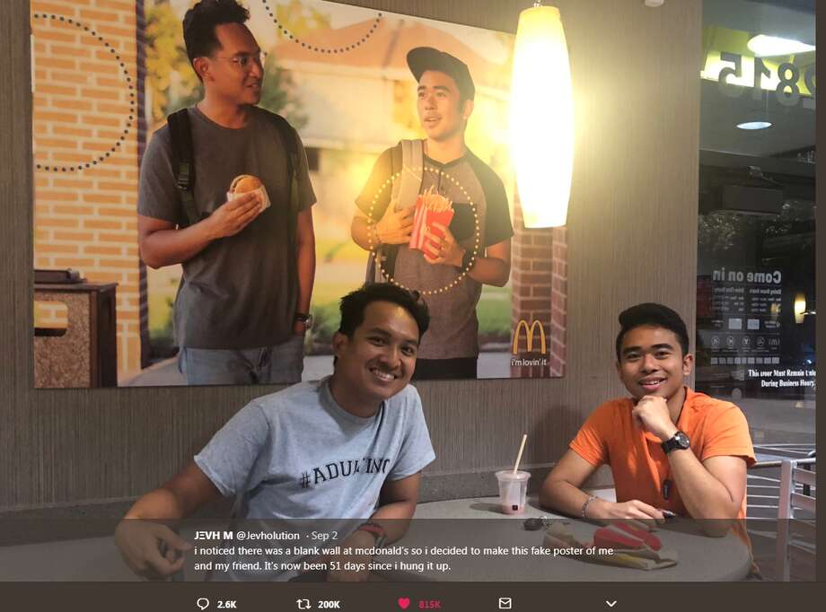 Jevh Maravilla decided to add some racial diversity to a McDonald's in Pearland by adding a photo of him and a friend to the wall as a prank. Photo: Jevh Maravilla/Twitter