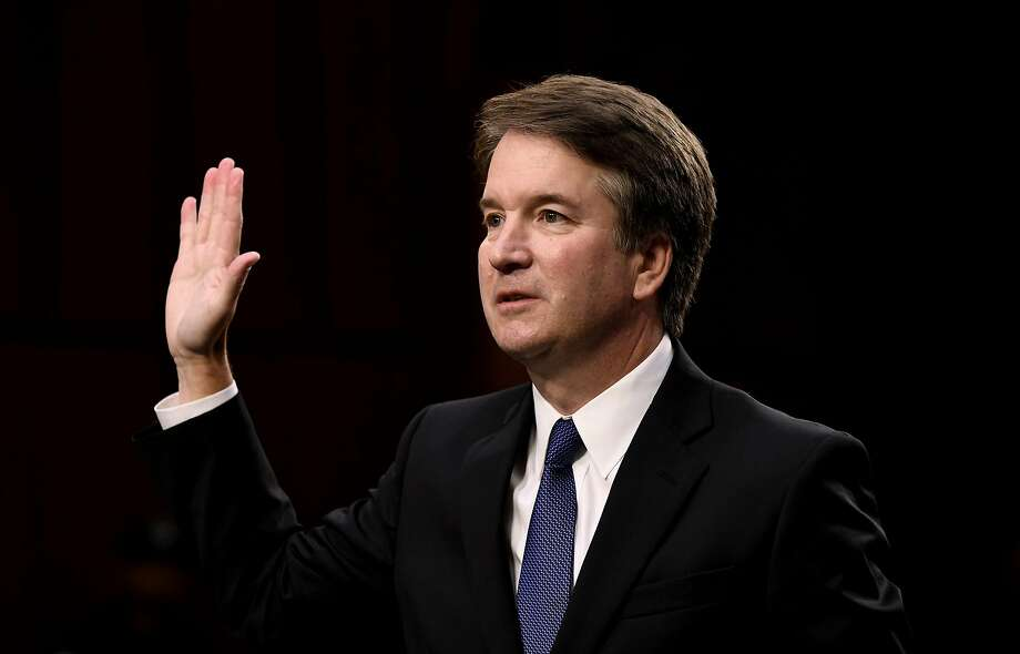 Supreme Court nominee Brett Kavanaugh is sworn in before testifying at his confirmation hearing in the Senate Judiciary Committee on Capitol Hill Sept. 4, 2018 in Washington, D.C. (Olivier Douliery/Abaca Press/TNS) Photo: Olivier Douliery / TNS
