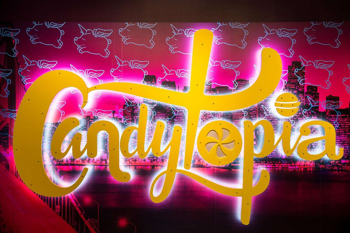 A glowing sign is the first thing to greet patrons at Candytopia in San Francisco, Calif. Tuesday, Sept. 4, 2018.