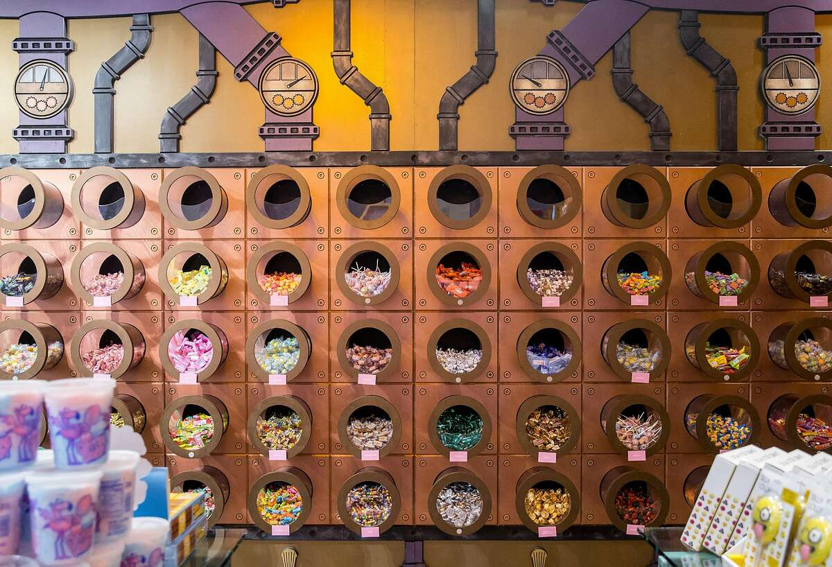 The gift shop sports a wall filled with a variety of candy to choose from at Candytopia in San Francisco, Calif. Tuesday, Sept. 4, 2018.