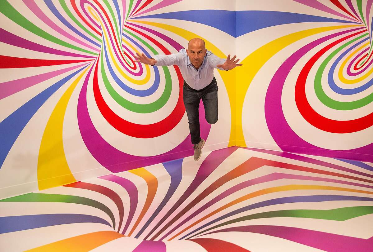 Candytopia co-founder John Goodman poses for a portrait in an illusion room inside Candytopia in San Francisco, Calif. Tuesday, Sept. 4, 2018.