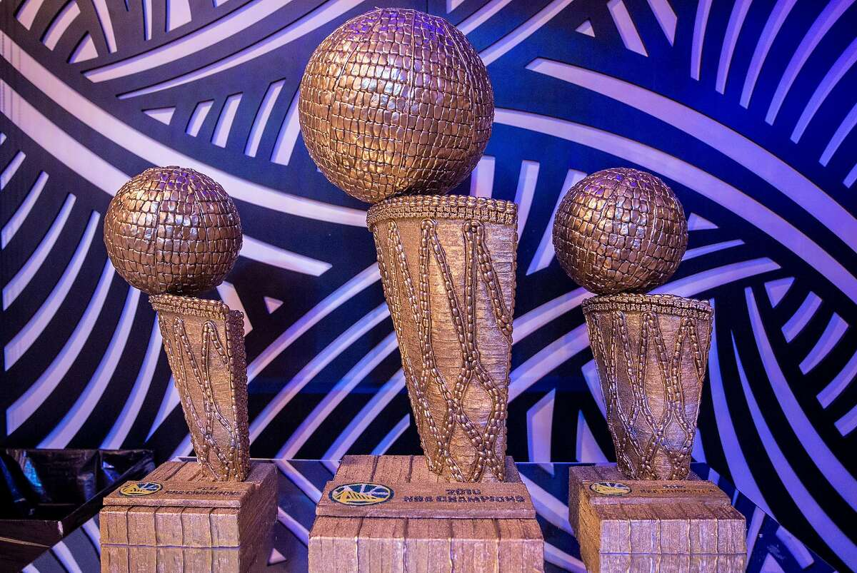 Candy replica's of the Golden State Warriors three NBA Finals championship trophies sit on display in the Art Gallery at Candytopia in San Francisco, Calif. Tuesday, Sept. 4, 2018.