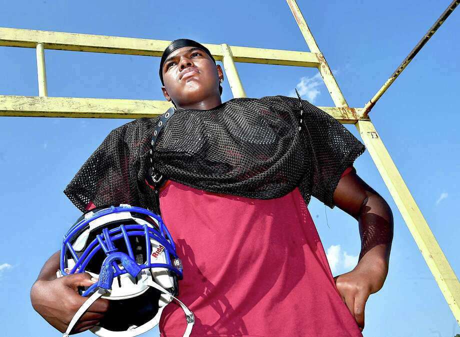 Whitney Tech junior defensive end Jo-el Hutchinson Wednesday, August 29, 2018, at the Thomas J. Serra Sports Complex at Vinal Technical High School in Middletown. Photo: Catherine Avalone / Hearst Connecticut Media / New Haven Register